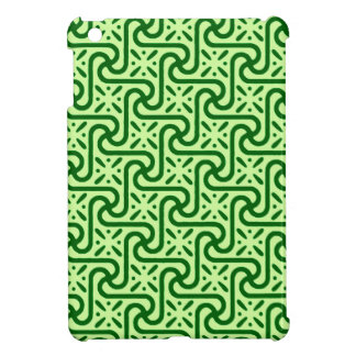 Egyptian tile pattern, emerald and lime green cover for the iPad mini
