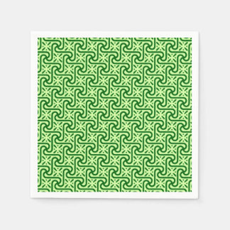 Egyptian tile pattern, emerald and lime green paper napkin