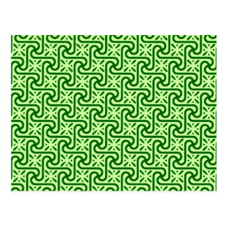 Egyptian tile pattern, emerald and lime green postcard