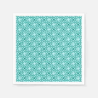 Egyptian tile pattern, turquoise and aqua paper napkin