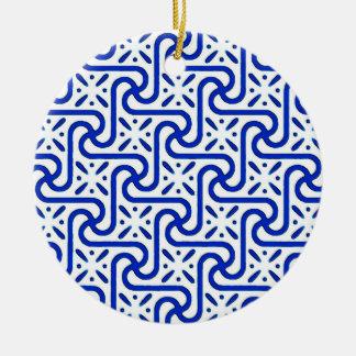 Egyptian tile pattern, white and cobalt blue ceramic ornament