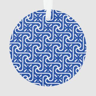 Egyptian tile pattern, white and cobalt blue ornament