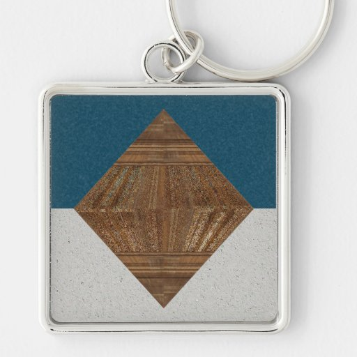 Egyptian Topaz Golden Pyramid Abstract Art Silver-Colored Square Keychain