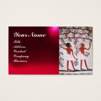 EGYPTIAN VINEYARD WINE GRAPE HARVEST ,RED WAX SEAL BUSINESS CARD
