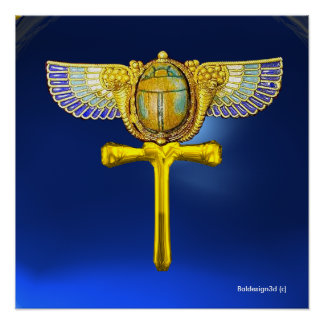 EGYPTIAN WINGED SCARAB ANKH AND CORNUCOPIA  Blue Poster