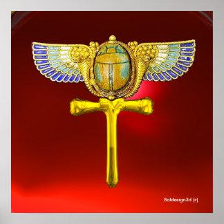 EGYPTIAN WINGED SCARAB ANKH ,CORNUCOPIA GOLD JEWEL POSTER