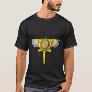 EGYPTIAN WINGED SCARAB ANKH ,CORNUCOPIA GOLD JEWEL T-Shirt