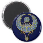 Egyptian Winged Scarab, Blue 2 Inch Round Magnet