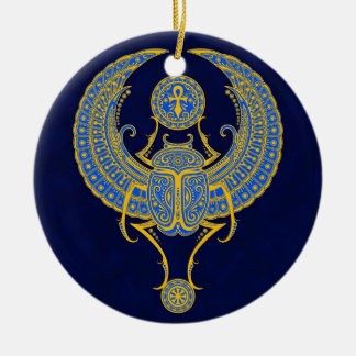 Egyptian Winged Scarab Blue Ornaments