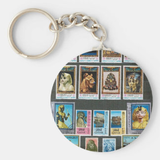 Egyptology on stamps key chains