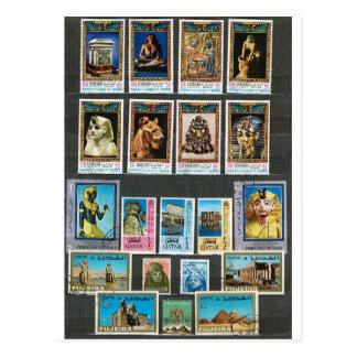 Egyptology on stamps postcard