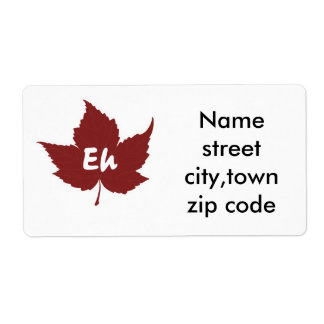 Eh red maple leaf for canada day label