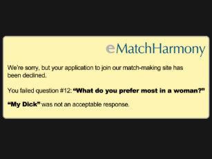 eharmony application rejected