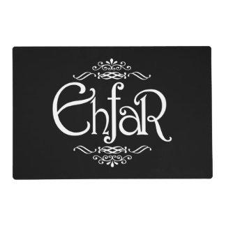EHFAR - White Text on Black Background Laminated Place Mat