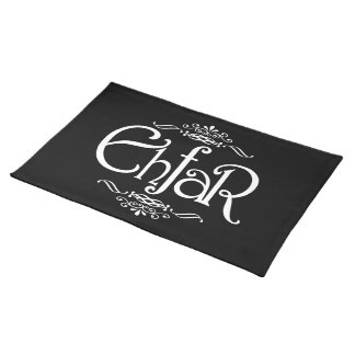 EHFAR - White Text on Black Background Cloth Placemat