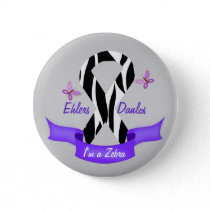 Ehlers-Danlos EDS I'm a Zebra Awareness Ribbon Button