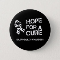Ehlers-Danlos Hope Zebra Stripe Ribbon Button