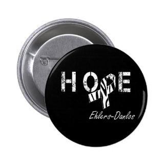 Ehlers-Danlos Hope Zebra Stripe Ribbon Button