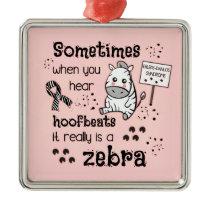 Ehlers-Danlos Syndrome Zebra Awareness Metal Ornament