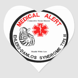 Ehlers Danlos Type 3 Medical Alert Heart Sticker