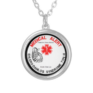 Ehlers Danlos Type 3 Medical Alert Silver Plated Necklace
