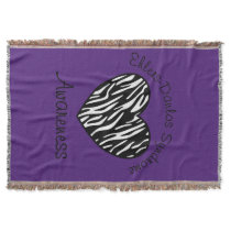 Ehlers Danlos Zebra Awareness Heart Throw Blanket