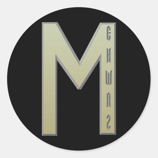 Ehwaz Rune gold Round Stickers