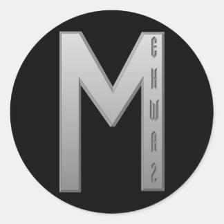 Ehwaz Rune grey Classic Round Sticker