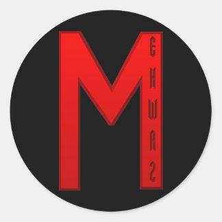 Ehwaz Rune red Classic Round Sticker