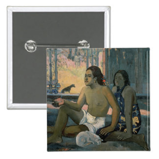 Eiaha Ohipa or Tahitians in a Room, 1896 2 Inch Square Button