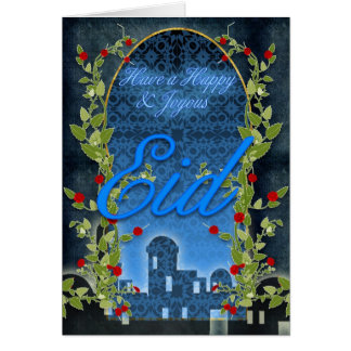 Eid Card, Happy And Joyous Eid, Blue