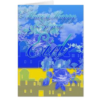 Eid Card, Happy And Joyous Eid, Blue Card