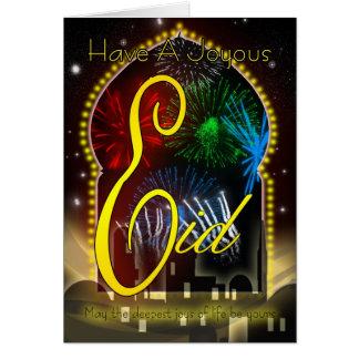 Eid Card, Happy And Joyous Eid, Fireworks Card