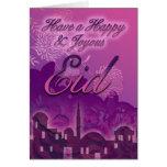 Eid de la tarjeta de Eid, feliz y feliz, púrpura