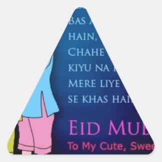 Eid feliz Mubarak al amigo Pegatina Triangular
