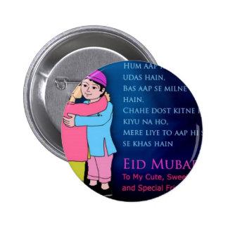 Eid feliz Mubarak al amigo Pin Redondo De 2 Pulgadas