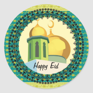 Eid Greetings yellow mosque muslim Classic Round Sticker