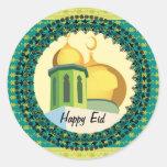 Eid Greetings yellow mosque muslim Round Sticker
