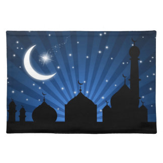 Eid Mosque Blue Night - Placemat Cloth Placemat