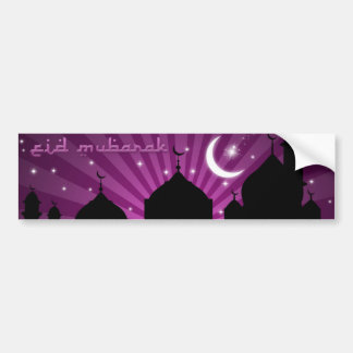 Eid Mosque Purple Night - Bumper Sticker