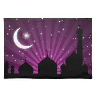 Eid Mosque Purple Night - Placemat Cloth Place Mat