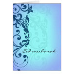 Eid mubarak - blue greeting card