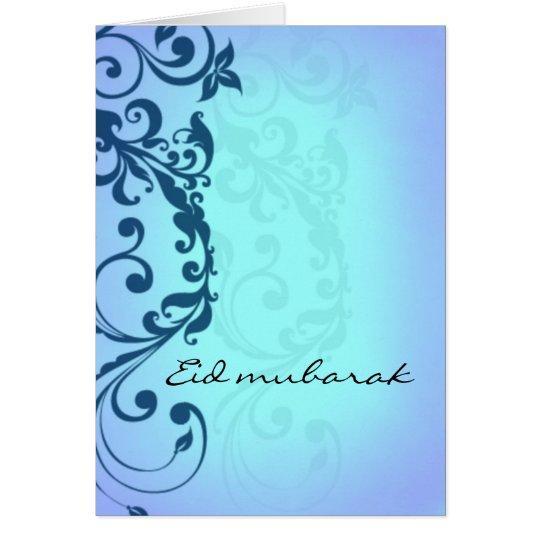 Eid mubarak - blue greeting card
