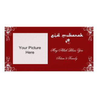 Eid Mubarak Burgundy White Swirl Photo Cards