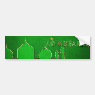 Eid Mubarak Green Gold Mosque - Bumper Sticker