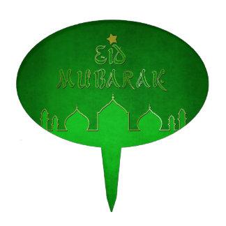 Eid Mubarak Green Gold Mosque - Cake Topper oval