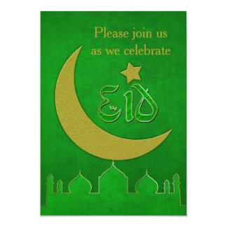 Eid Mubarak Green Gold Mosque - Invitation Card