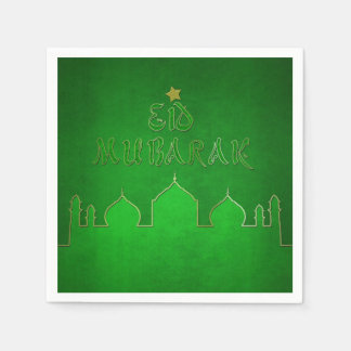 Eid Mubarak Green Themed - Islamic Paper Napkin