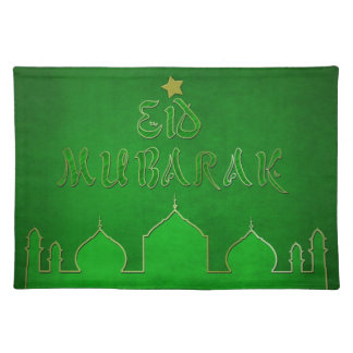 Eid Mubarak Green Themed - Islamic Placemat Cloth Place Mat