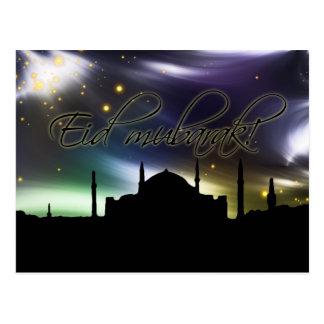 Eid mubarak greeting card postcard